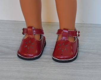 "Burgundy Mary Jane Style Shoe for 14"" Dolls like the Wellie Wisher"