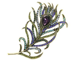 Feather Brooch, Feather Broach, Amethyst Purple Rhinestone Feather, Crystal Feather Jewelry Component, DIY Craft Supply Embellishment