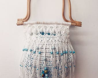 Crochet bag. Boho, beaded, beach bag with macrame fringe and bamboo handle. Carry all. Tote bag. Hippie bag. White hand bag. gypsy bag.