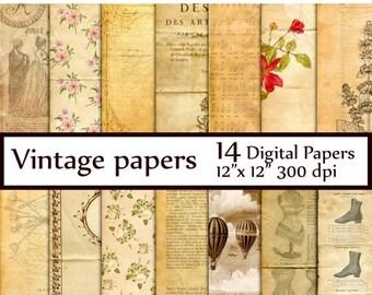 "40%SALE Vintage Digital Paper: ""VINTAGE PAPER"" Old Paper Digital Paper Paris Scrapbook French Paper Pack Vintage Paper Fleur de Lis Instant"