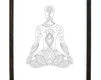 Beautiful Mandala inspired Lotus pose Digital Print