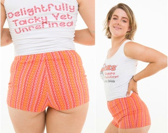 Retro Hot Pants / Orange Pattern / Stretchy / Size S-M