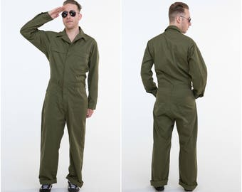 Authentic Military Coveralls / Khaki Boiler Suit / Size L