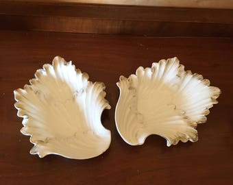 Gold Detail Leaf Dish Duo