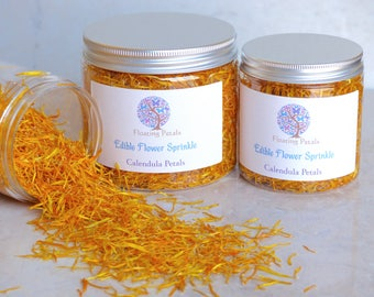 Edible Flower Sprinkle -Yellow Calendula - all natural, home grown without chemicals, great for tea, baking, bath salts, or crafts!