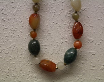 Vintage Multi Colored Natural Stone Necklace