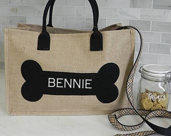 Pet tote, monogrammed pet tote, dog tote, dog park bag, custom dog tote,