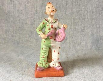 Vintage Ceramic Fat Musical Clown Figurine