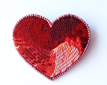 Handmade red heart brooch of beads/sequins/gift for her/Valentine