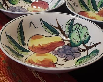 Vintage The Ironstone China Bowls with a Grape Fruit Design Pattern Set of 3