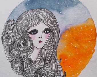 ORIGINAL Watercolour and Ink Painting, Galaxy Art, Space Art, Girl, Whimsical Art, Quirky Art