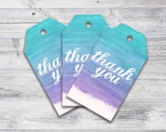 Purple and Blue Ombre Gift Tag Printables, Party Thank You Tags, Baby Shower Tags Download