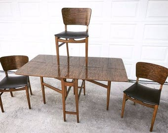 Vintage Mid Century Modern Dining Table And Chairs