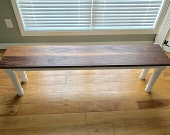 "Farmhouse Bench, Walnut Farmhouse Table Bench, Hallway Bench, Entryway Bench, Rustic Benches, 60""Lx12""Wx17""H  Heirloom Quality Walnut Bench"