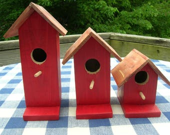 Cedar Birdhouses - Red, Decorative, Set of 3 - Garden, Deck, Patio, Porch