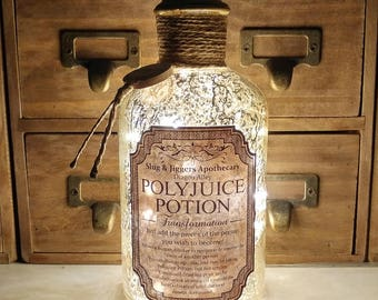 Harry Potter Slug & Jiggers Diagon Alley Apothecary Polyjuice Potion Gold Mercury Effect LED Bottle Lamp Light by JayEngrave