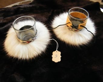 2 pack fur candle holders, rustic candle holders, tealight candle holders, native american candle holders,winter candles,rustic accents