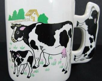 Holstein Dairy Milk Cow Calf Porcelain Ceramic Coffee Tea Mug Cow Shaped Handle