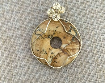 Picture Jasper Donut and Gold Pendant, Gold Filled Jasper Necklace, Simple Elegance Gypsy Jewelry