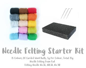 Needle Felting Starter Kit | 15 Colours Of Carded Wool Batts | Needle Felting Foam Pad | 3 Felting Needles No.36 No.38 No.40