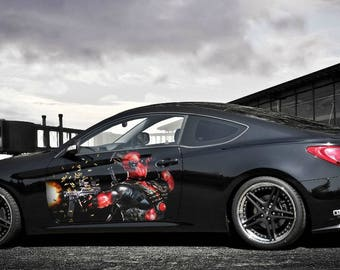 Vinyl Car Side Body Graphics Decal Sticker Flame Fire Wheels - Custom vinyl decals for car hoodssoldier full color graphics adhesive vinyl sticker fit any car
