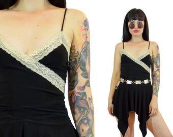 vintage 90s black ivory lace spaghetti strap top fringed long shirt tank top minimalist boho goth soft grunge small