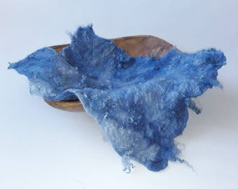 Photo Prop 100% Hand Felted, Hand Dyed Textured Wool Layer, Felt Piece with some curls in blue Shades, RTS