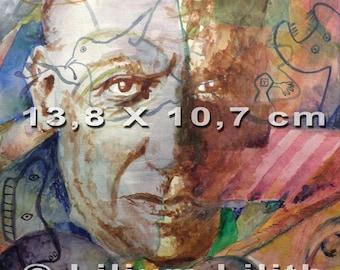 Postcard. Portrait of Pablo Picasso