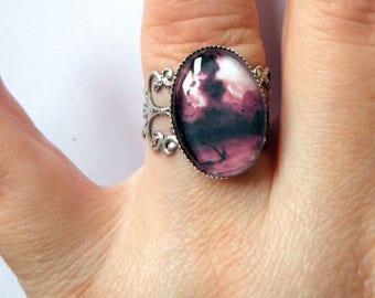 Ring, watercolor, Cabochon, filigree, (one ring)