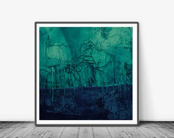 Large Art Print, Printable Art, Vintage Finish, Art Poster, Digital Download, Wall Decor,navy blue and turquoise, modern abstract, teal