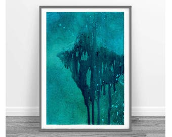 room decor, dreamy digital image, Abstract Painting, Modern Contemporary Art, rustic home decor, set of 3, teal abstract, green, aqua