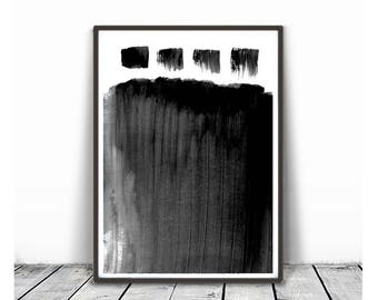 Black & White Wall Art Prints, Modern Contemporary Abstract Wall Art, Brush Stroke Print, Minimal Ink Painting, Instant Download