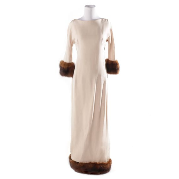 Floor length mink-trimmed gown by Samuel Winston by Roxane, 1960s, approx. modern size 2-4.