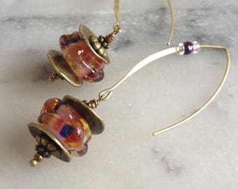 Bronze earrings, Bohemian, artisan Lampwork Glass, multicolored bead, bead caps and metal charms.