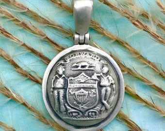 Sterling Silver Union WISCONSIN State Coat Of Arms Button Civil War Relic Pendant