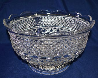 Anchor Hocking Wexford Large Fruit Bowl, Anchor Hocking Diamond pattern Serving Bowl, Anchor Hocking Pressed Glass Salad Bowl