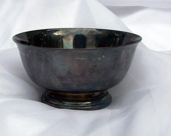 "Gorham Pattern No. YC795 - Vintage Tarnished Paul Revere Footed Bowl Sterling Silverplate Hollowware  4 1/2"" Diameter"