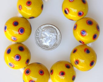 Large Round 18mm Vintage Czech Glass Beads - Handmade Beads - Bright Yellow - Qty 1 or 5