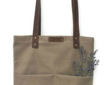 Tote Bag with Embossed Leather Handles - Fieldstone