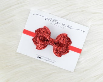 Red Glitter Bow // 3 sizes // headband or clip
