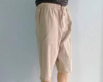 Quality Shorts  Capris Summer Beach Chic Pockets Linen Look  Beige