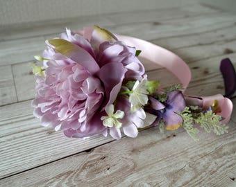 Wedding,occasion, dog collar.Lavender,lilac,Pink peony. Hydrangea. silver foliage.ivy.fern.Pink satin ribbon