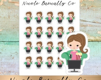 Jade Dolls- TV- Movie- Binge Watch- Pop Corn- Character Planner Stickers