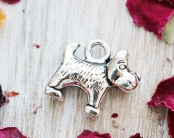 set of 25, 3d dog charm, silver charm, metal charm, 14mm x 13mm, charms wholesale, pet charm, cute dog charm,