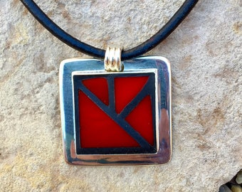 Red Mosaic Pendant/Red Jewelry/Stained Glass Necklace/