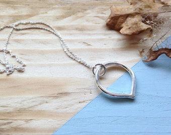 Lotus petal pendant | Handmade recycled silver lotus petal pendant | Teardrop necklace | Recycled packaging | Brighton UK.