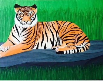 Tiger.Acrylic on canvas,painting . 91cm x 61