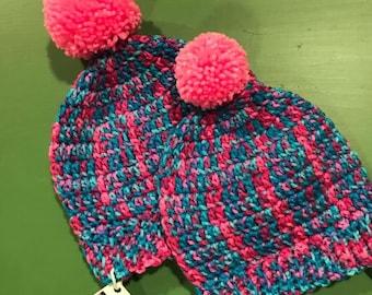 Child's Crocheted Beanie, Pom Pom Hat, Child's Toque, Girls Winter Hat, Pink Pom Pom Hat, Fun Winter Hat, Bright Crocheted Winter Hat