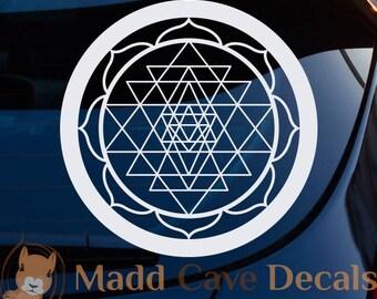 Sri Yantra Decal Mystical Diagram Interlocking Triangles