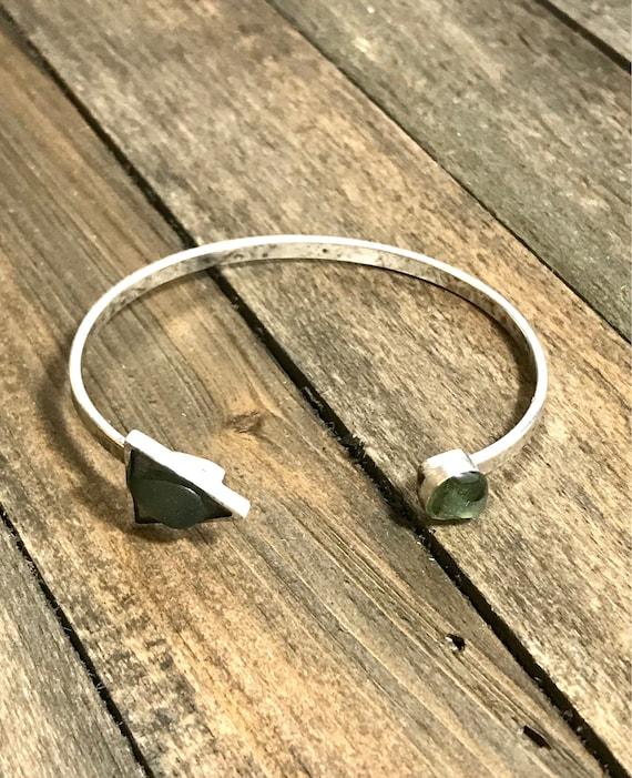 Adjustable sea glass bangle bracelet